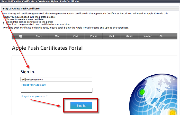 Step 5: Generate an Apple Push Notification certificate