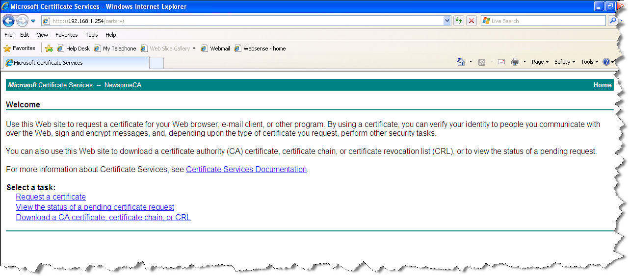 The Certificate Services Applet Starts
