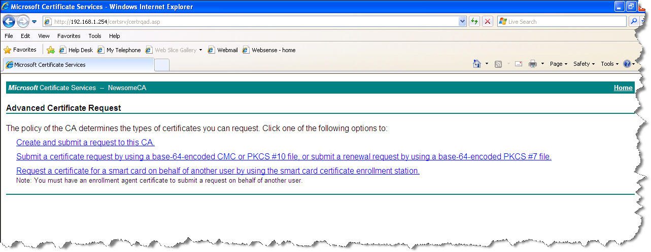 Creating a subordinate ca select to submit an advanced certificate request yelopaper Choice Image