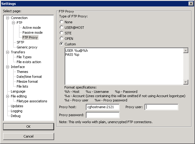Configuring FTP clients in an explicit proxy environment