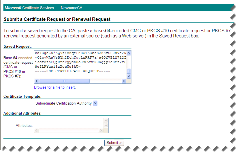 Creating a subordinate certificate authority 6 on the submit a certificate request yadclub Image collections